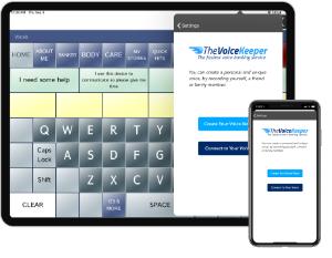 Dialogue screenshot plus VoiceKeeper logo