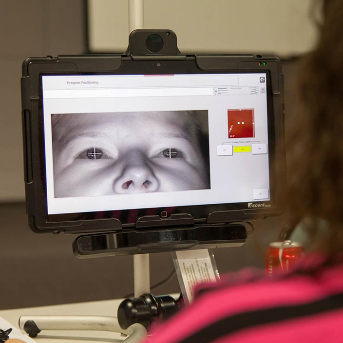 photo of someone calibrating eye gaze on an Accent device
