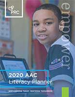 Cover of the Literacy Planner, featuring a young device user